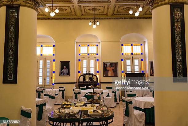 Hotel Inglaterra or England Hotel interior architectural details: restaurant Hotel Inglaterra is the oldest hotel in Cuba and one of the most classic...