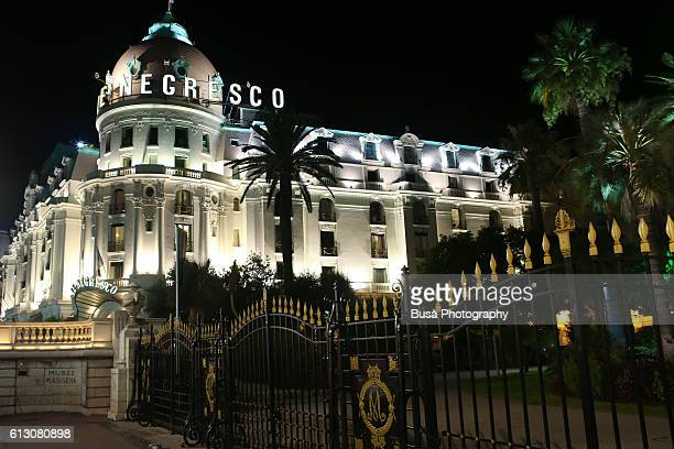 Hotel Le Negresco at night, Promenade des Anglais, Nice, France
