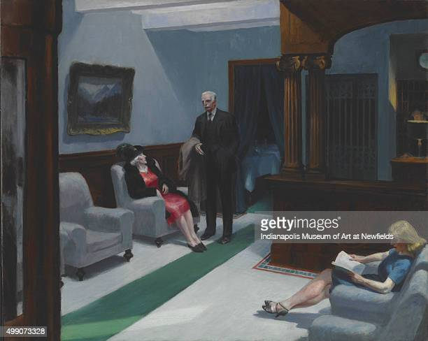 Hotel Lobby by American artist Edward Hopper 1943 William Ray Adams Memorial Collection