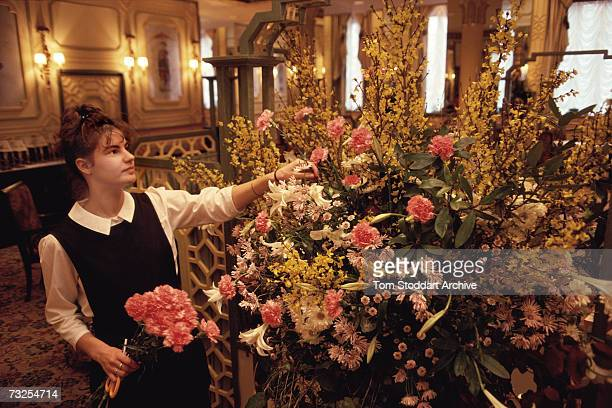 Hotel maid arranges flowers in the foyer of the Dorchester Hotel on Park Lane, London, April 1991.