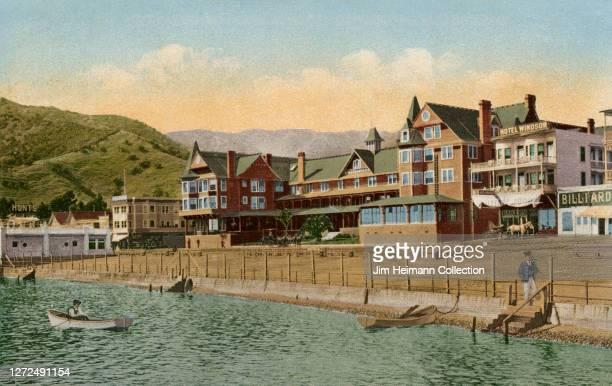 Hotel Metropole at Avalon on Santa Catalina Island, California sits at a close distance to the water, circa 1899.