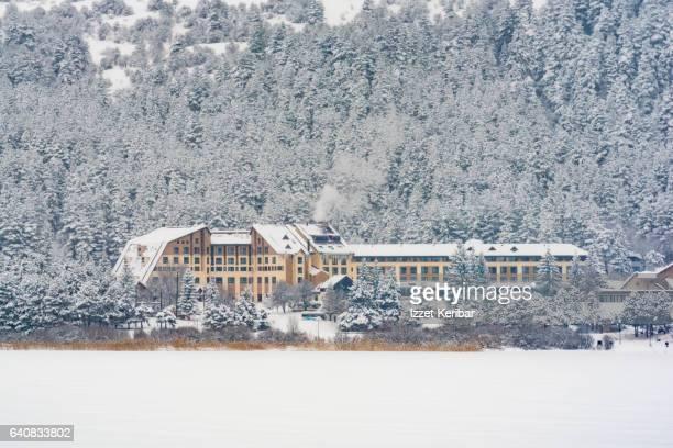 Hotel, near Abant Lake , winter time, Bolu Turkey