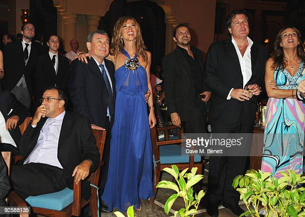 Hotel owner Sol Kerzner and wife Heather Kerzner watch the fireworks while attending the grand opening night of the Kerzner Mazagan Beach Resort on...