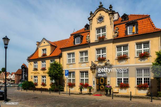 hotel podewils in gdansk, poland - motlawa river stock pictures, royalty-free photos & images
