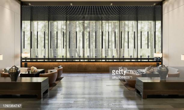 hotel reception lobby - symmetry stock pictures, royalty-free photos & images