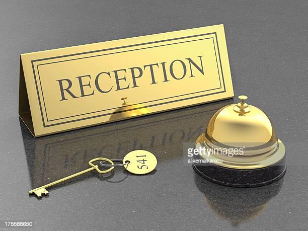 Réception de l'hôtel, et service bell et la clé de la chambre