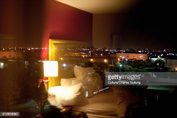 Hotel room at night