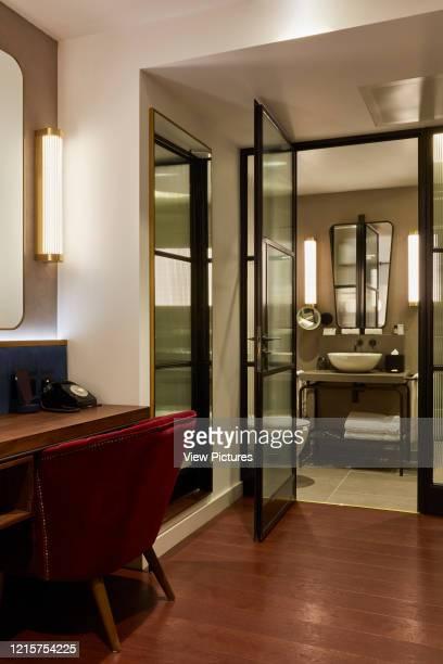 Hotel room interior. Indigo Hotel, Leicester Square, London, United Kingdom. Architect: Michaelis Boyd Associates Ltd, 2018..