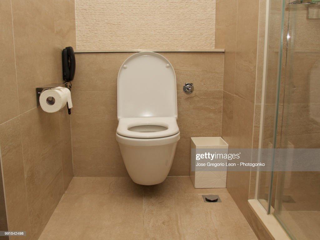 Hotel room toilet : Stock Photo