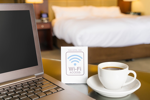Hotel room with wifi access sign 579240946