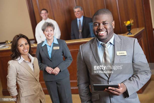 Hotel service employees in the lobby