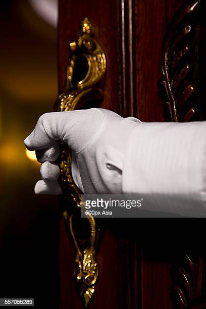 hotel service staff - doorman stock photos and pictures