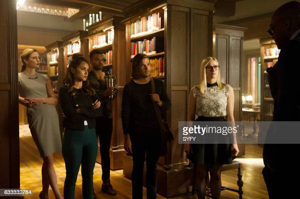 THE MAGICIANS Hotel Spa Potions Episode 202 Pictured Anne Dudek as Prof Pearl Sunderland Summer Bishil as Margo Arjun Gupta as Penny Jason Ralph as...