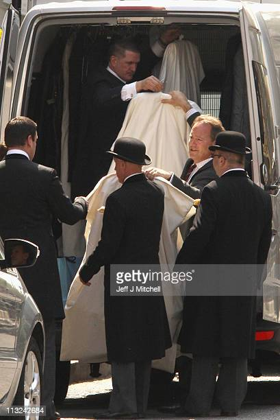 Hotel staff at the Goring Hotel take arrival of dresses, Catherine Middleton will spend her last night as a unmarried woman at the hotel ahead of the...