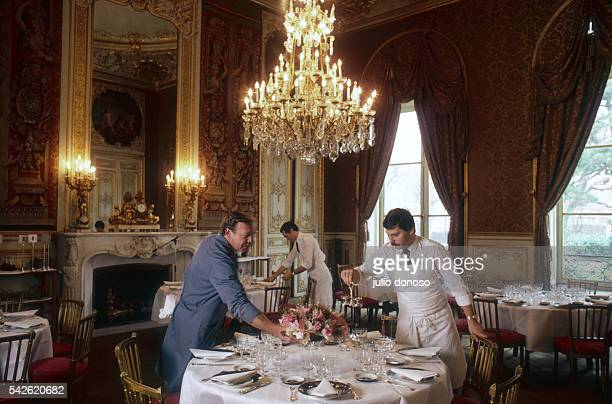 Hotel staff prepare the reception room of the Hotel de Lassay before an official lunch The hotel is the residence of the President of the National...