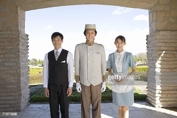 Hotel staffs, smiling, portrait, front view