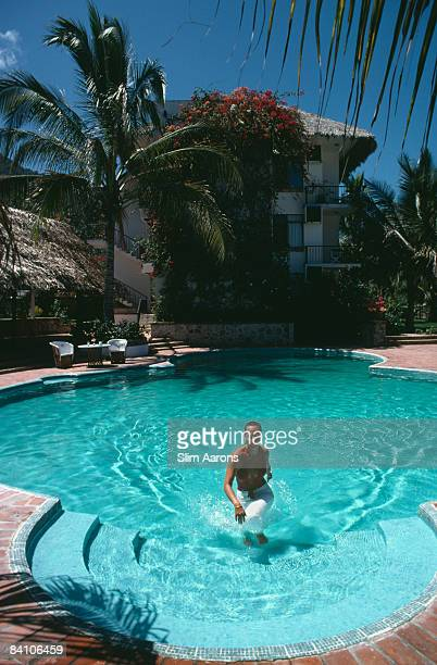 A hotel swimming pool in the resort city of Puerto Vallarta Jalisco Mexico April 1979