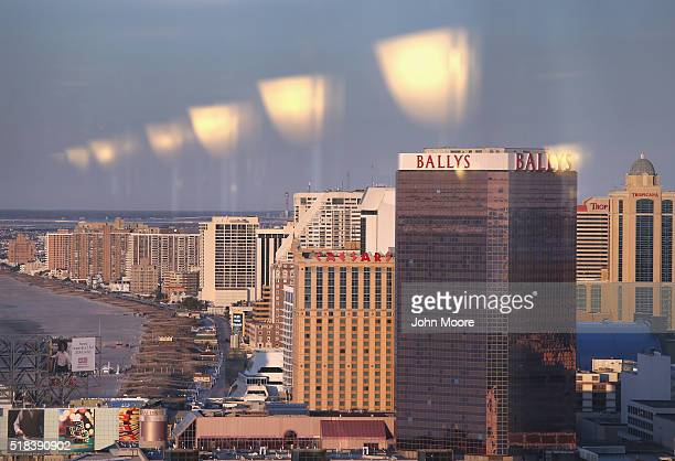 Hotels and casinos line the boardwark as seen from the Trump Taj Mahal on March 30 2016 in Atlantic City New Jersey The Atlantic City municipality is...