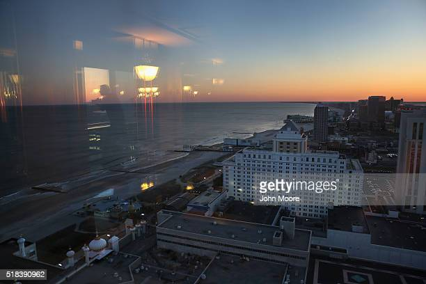 Hotels and casinos line the boardwark at sunset as seen from the Trump Taj Mahal on March 29, 2016 in Atlantic City, New Jersey. The Atlantic City...