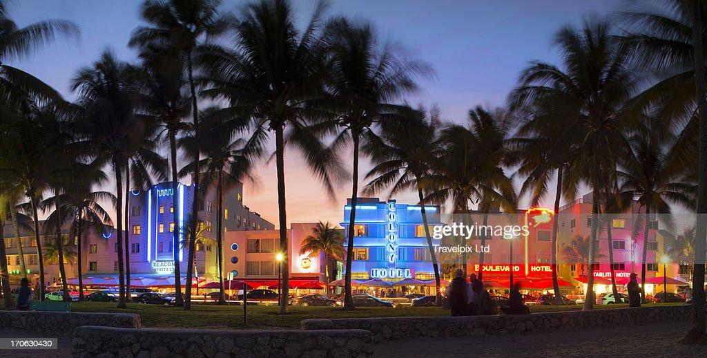 hotels at ocean drive south beach miami stock photo