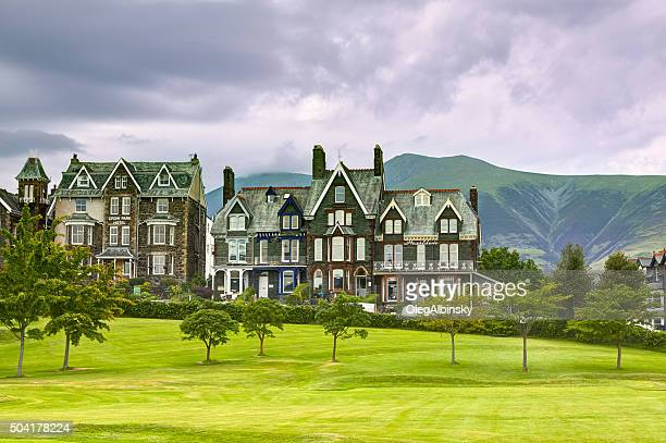 hotels in small english town, keswick, lake district, england. - keswick stock photos and pictures