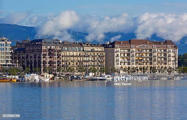 Hotels on shoreline of Lake Geneva