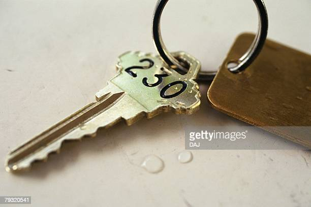 Hotels Room Key, Close Up, High Angle View, Differential Focus
