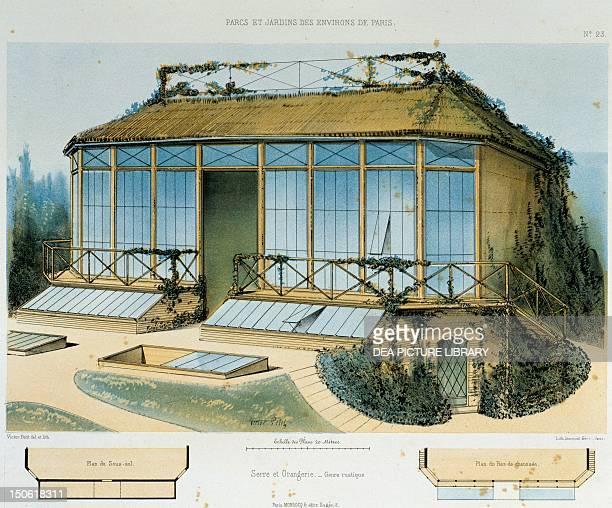 Hothouse and rusticstyle orangerie lithograph taken from Parcs et Jardins des environs de Paris by Victor Petit France 19th century