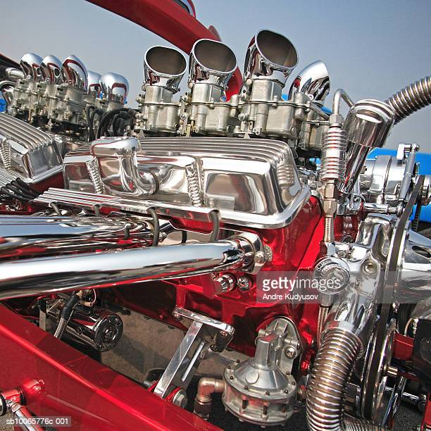 hot-rod engine, close-up - hot rod car stock photos and pictures