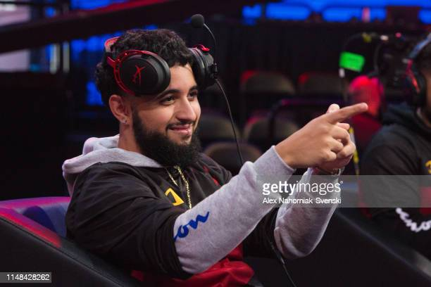 Hotshot of Heat Check Gaming taunts during the game against Magic Gaming during Week 8 of the NBA 2K League regular season on June 6 2019 at the NBA...