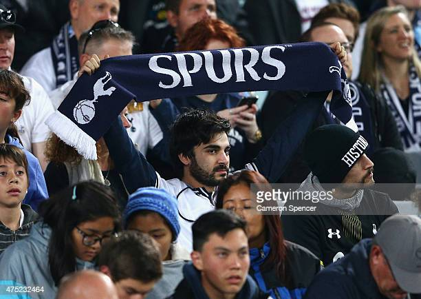 Hotspur fan enjoys the atmosphere during the international friendly match between Sydney FC and Tottenham Spurs at ANZ Stadium on May 30 2015 in...