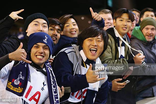 Hotspur fans show their support during the 2016 International Champions Cup match between Juventus FC and Tottenham Hotspur at Melbourne Cricket...