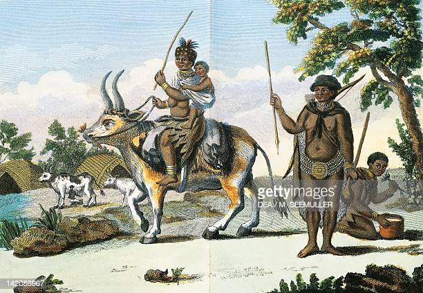 Hottentot family in Africa engraving from Journey by Pierre Sonneratia