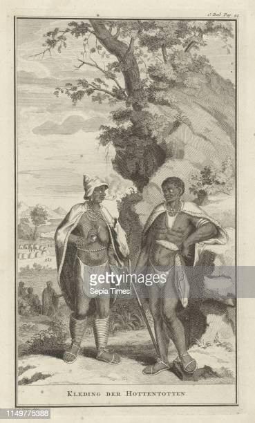 Hottentot man and lady in traditional dress Jan Caspar Philips 1727