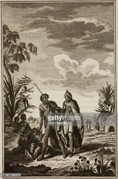 Hottentot man and woman Southwestern Africa engraving from Compendio della storia generale de' viaggi volume 5 by JeanFrancois de La Harpe Venice