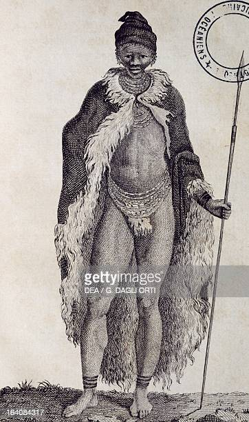 Hottentot man engraving from Travels into the interior of Africa via the Cape of Good Hope by Francois Le Vaillant 1780 Africa 18th century Paris...