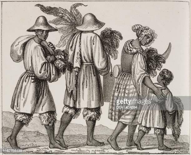 Hottentot settler family travelling Africa lithograph from Galleria universale di tutti i popoli del mondo ossia storia dei costumi religioni riti...