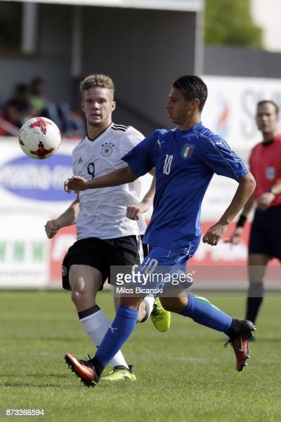 Hottmann Eric of Germany in action against Morrone Blagio of Italy during the Germany vs Italy U18 friendly match at Ammochostos Stadium at Larnaca...
