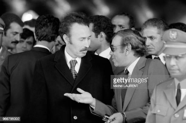 Houari Boumédiène et le roi Hassan II du Maroc à la conférence des chefs d'Etat arabes le 28 novembre 1973 à Alger Algérie