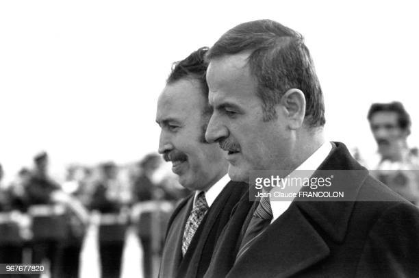 Houari Boumédiène reçoit Hafez elAssad lors d'une conférence du refus des accords de Camp Davis à Alger le 1er juillet 1978 Algérie