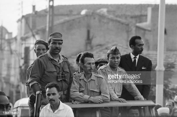 Houari Boumediene leader of the ALN leads his troops on September 4 1962 in Algiers Algeria