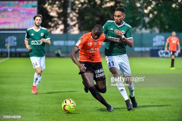 Houboulang Mendes of Lorient and Loic Lapoussin of Red Star during the French Ligue 2 match between Red star and Lorient at Stade Pierre Brisson on...