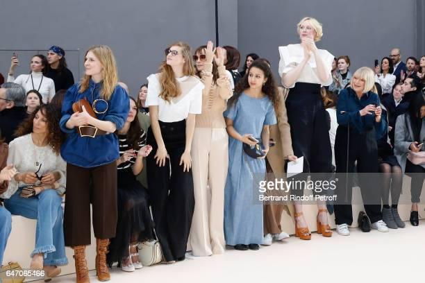 Houda Benyamina, Clemence Poesy, Ana Girardot, Oulaya Amamra, Aymeline Valade, Gwendoline Christie and Marianne Faithfull attend the Chloe show as...