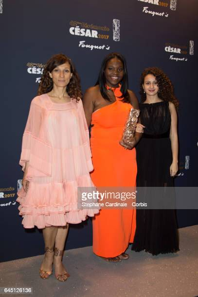 Houda Benyamina Deborah Lukumuena and Oulaya Amamra attend the Cesar's Dinner at Le Fouquet's on February 24 2017 in Paris France