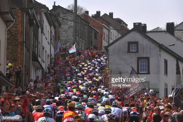 Houffalize City / Cote de Saint Roch / Landscape / Peloton / Fans / Public / during the104th LiegeBastogneLiege 2018 a 2585km race from Liege to...