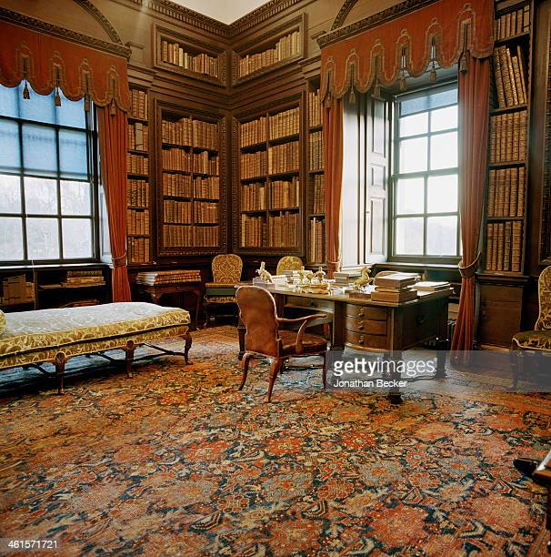 Houghton Hall is photographed for Vanity Fair Magazine on February 3 2013 in Norwich England The library which had been Sir Robert Walpoles private...