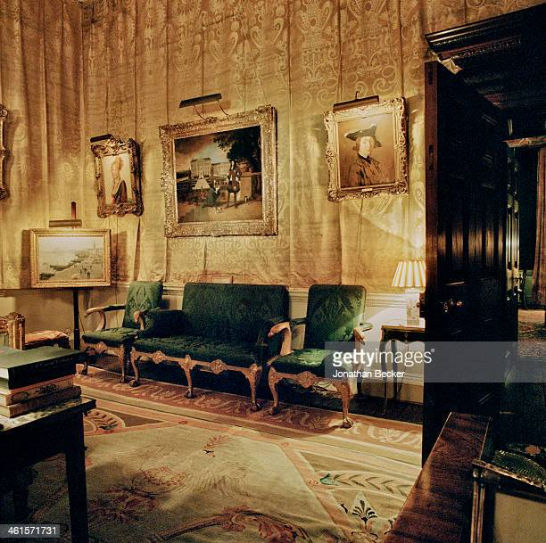 Houghton Hall is photographed for Vanity Fair Magazine on February 3 2013 in Norwich England The Yellow Drawing Room features paintings by...