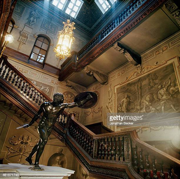 Houghton Hall is photographed for Vanity Fair Magazine on February 3 2013 in Norwich England The Great Staircase featuring grisaille paintings by...