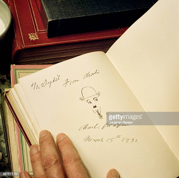 Houghton Hall is photographed for Vanity Fair Magazine on February 3 2013 in Norwich England Sketch by Charlie Chaplin signed to Davids grandmother...