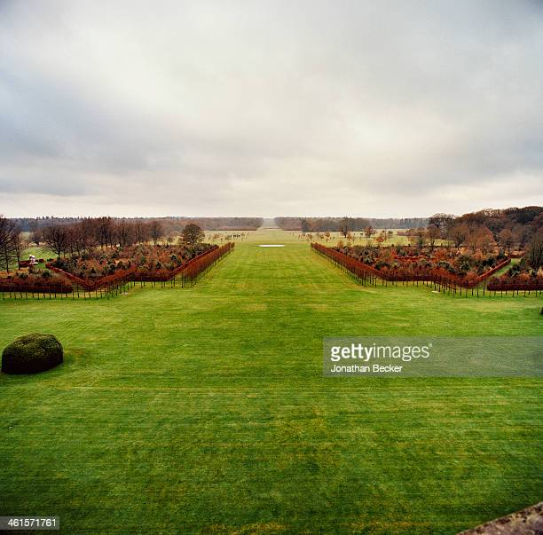 Houghton Hall is photographed for Vanity Fair Magazine on February 3 2013 in Norwich England A view of the grounds looking toward Full Moon Circle an...